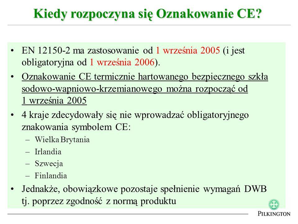EN 12150-2 ma zastosowanie od 1 września 2005 (i jest obligatoryjna od 1 września 2006). Oznakowanie CE termicznie hartowanego bezpiecznego szkła sodo