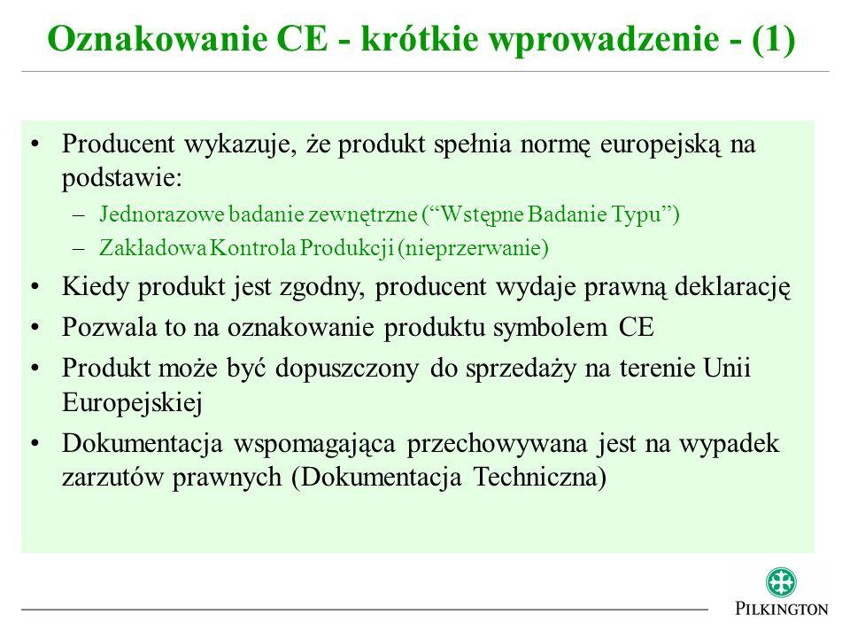 Poziom zaangażowania strony trzeciej (Jednostki Notyfikowanej) do wstępnego badania typu zależy od: –Typu Produktu –Zastosowania Produktu Im większe ryzyko nie spełnienia wymagań przez produkt, tym większe zaangażowanie strony trzeciej –Odporność ogniowa –Kuloodporność –Odporność na eksplozję Oznakowanie CE - krótkie wprowadzenie - (2)