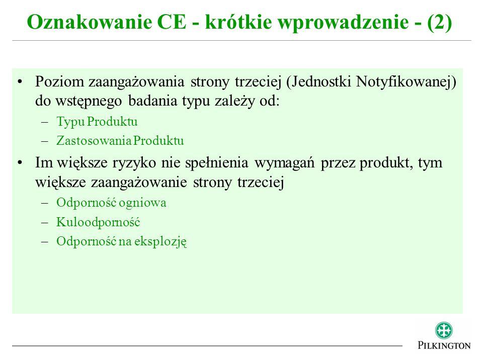 Poziom zaangażowania strony trzeciej (Jednostki Notyfikowanej) do wstępnego badania typu zależy od: –Typu Produktu –Zastosowania Produktu Im większe r