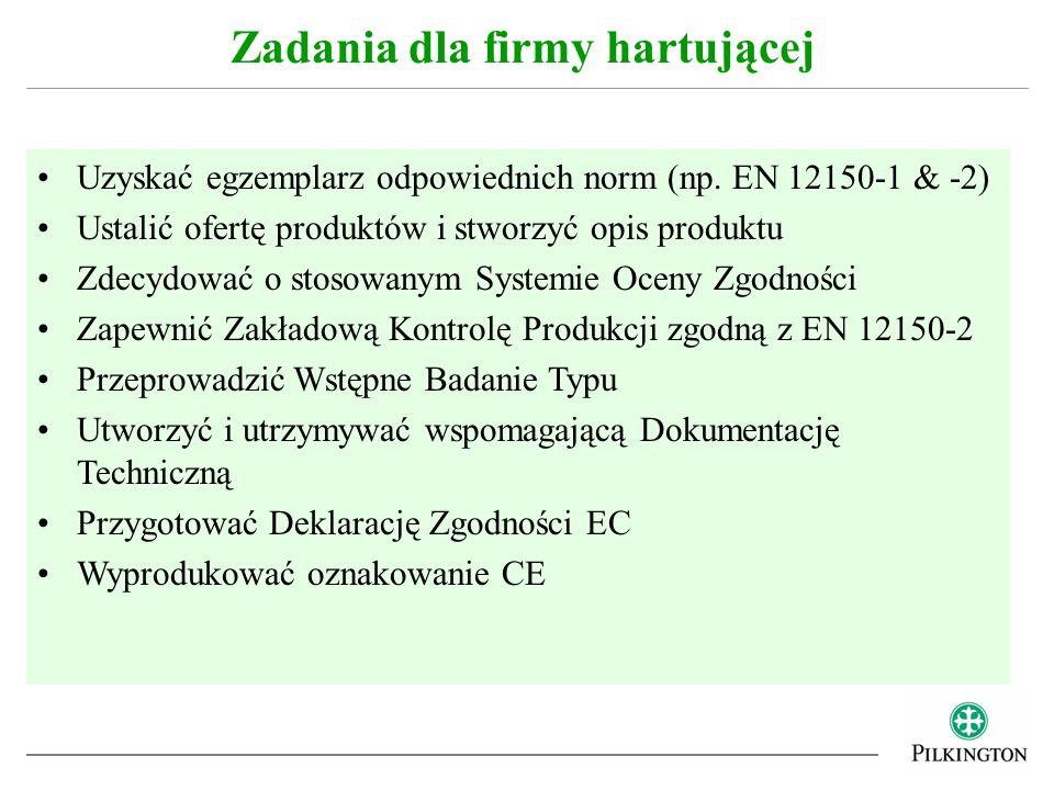 EN 12150-1 : Szkło w budownictwie – Termicznie hartowane bezpieczne szkło sodowo-wapniowo-krzemianowe - Część 1: Definicja i opis EN 12150-1 : Szkło w budownictwie – Termicznie hartowane bezpieczne szkło sodowo-wapniowo-krzemianowe - Część 2: Ocena zgodności/Norma produktu Część 2 jest często określana jako zharmonizowana norma europejska (hEN) Norma produktu