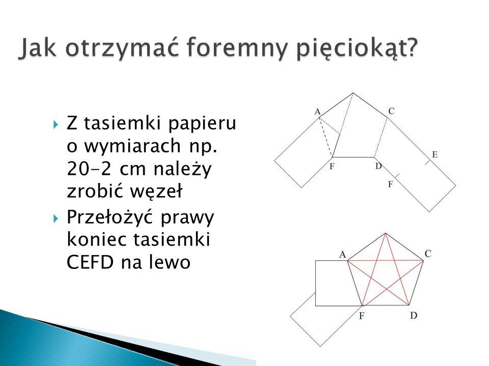 Z tasiemki papieru o wymiarach np. 20-2 cm należy zrobić węzeł Przełożyć prawy koniec tasiemki CEFD na lewo