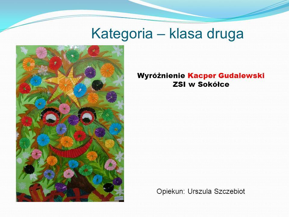 Kategoria – klasa druga Wyróżnienie Kacper Gudalewski ZSI w Sokółce Opiekun: Urszula Szczebiot