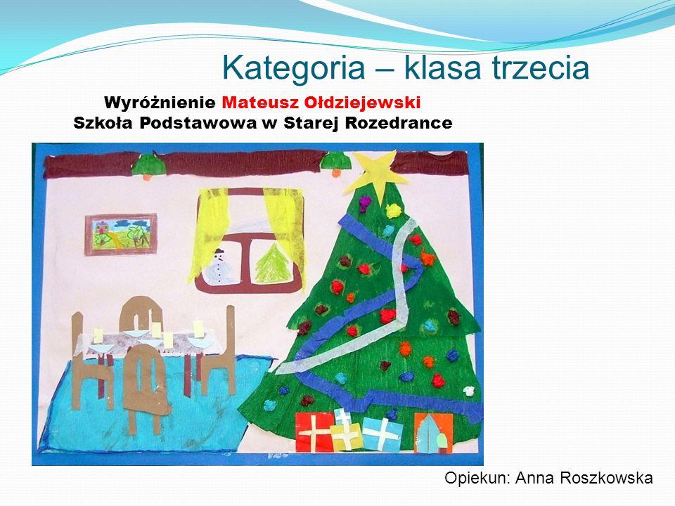 Kategoria – klasa trzecia Wyróżnienie Mateusz Ołdziejewski Szkoła Podstawowa w Starej Rozedrance Opiekun: Anna Roszkowska