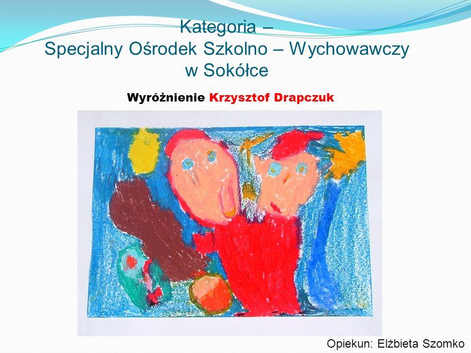 Kategoria – Specjalny Ośrodek Szkolno – Wychowawczy w Sokółce Wyróżnienie Krzysztof Drapczuk Opiekun: Elżbieta Szomko