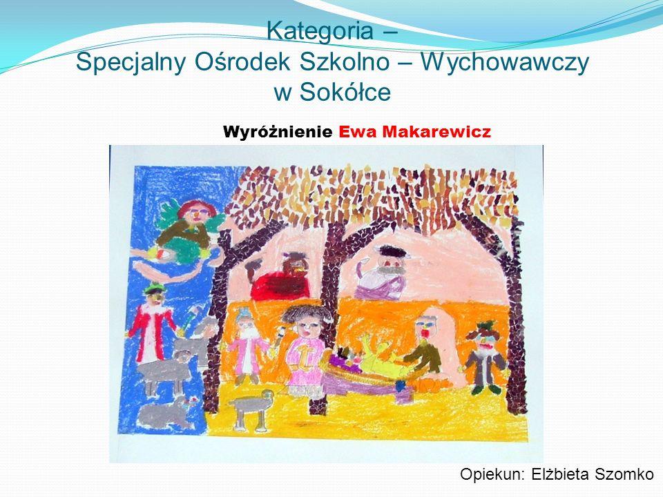 Kategoria – Specjalny Ośrodek Szkolno – Wychowawczy w Sokółce Wyróżnienie Ewa Makarewicz Opiekun: Elżbieta Szomko