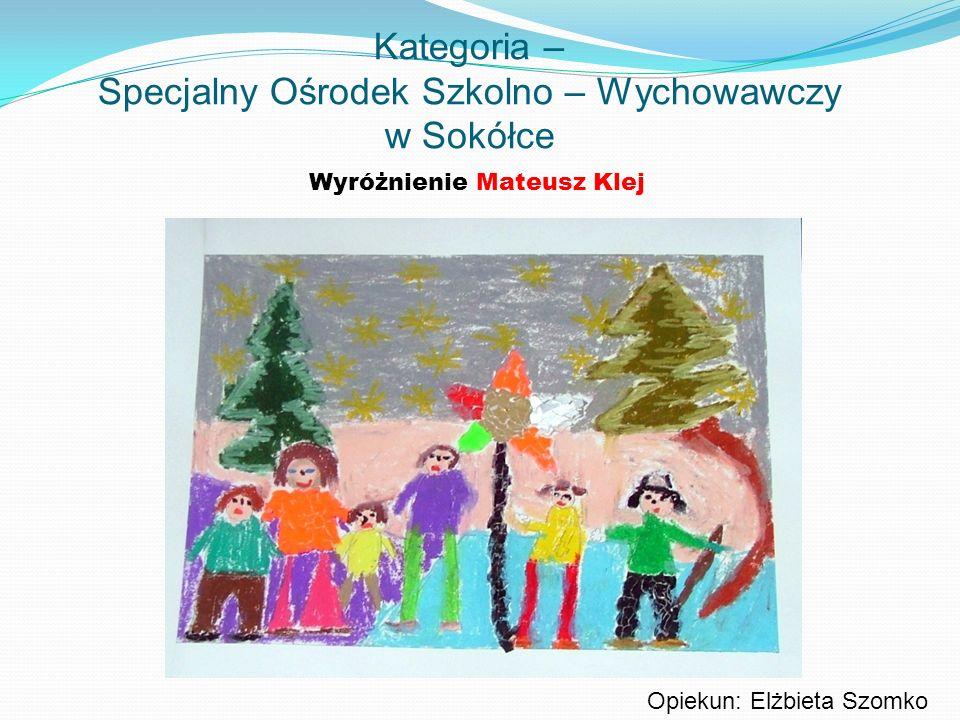Kategoria – Specjalny Ośrodek Szkolno – Wychowawczy w Sokółce Wyróżnienie Mateusz Klej Opiekun: Elżbieta Szomko