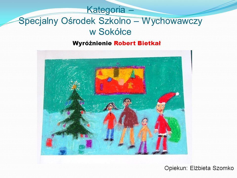 Kategoria – Specjalny Ośrodek Szkolno – Wychowawczy w Sokółce Wyróżnienie Robert Bietkał Opiekun: Elżbieta Szomko