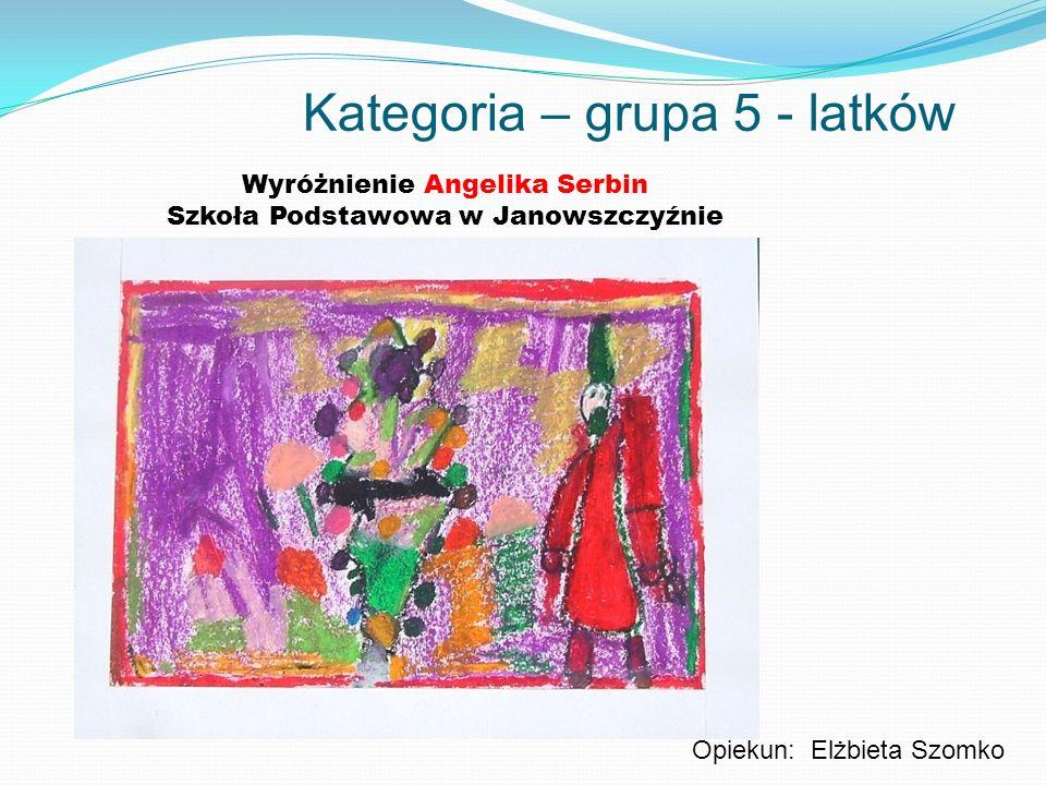Kategoria – grupa 5 - latków Wyróżnienie Angelika Serbin Szkoła Podstawowa w Janowszczyźnie Opiekun: Elżbieta Szomko