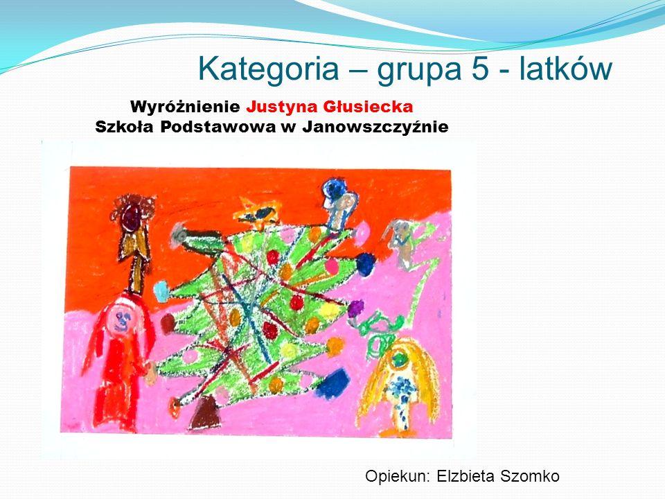 Kategoria – grupa 5 - latków Wyróżnienie Justyna Głusiecka Szkoła Podstawowa w Janowszczyźnie Opiekun: Elzbieta Szomko