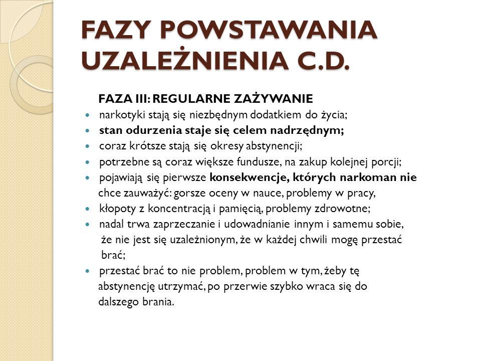FAZY POWSTAWANIA UZALEŻNIENIA C.D. FAZA III: REGULARNE ZAŻYWANIE narkotyki stają się niezbędnym dodatkiem do życia; stan odurzenia staje się celem nad