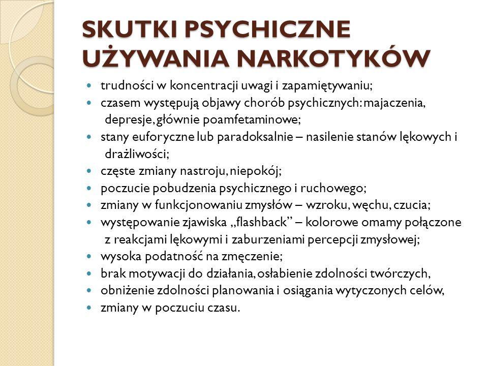 SKUTKI PSYCHICZNE UŻYWANIA NARKOTYKÓW trudności w koncentracji uwagi i zapamiętywaniu; czasem występują objawy chorób psychicznych: majaczenia, depres