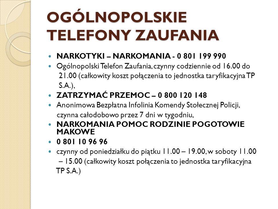 OGÓLNOPOLSKIE TELEFONY ZAUFANIA NARKOTYKI – NARKOMANIA - 0 801 199 990 Ogólnopolski Telefon Zaufania, czynny codziennie od 16.00 do 21.00 (całkowity k