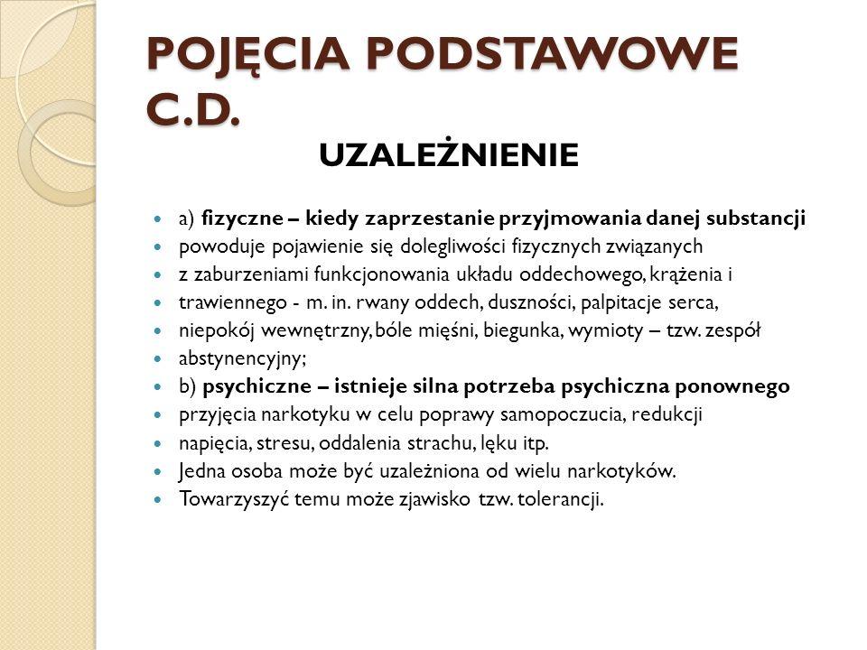 POJĘCIA PODSTAWOWE C.D.TOLERANCJA - jest to wzrost odporności organizmu na dany środek.