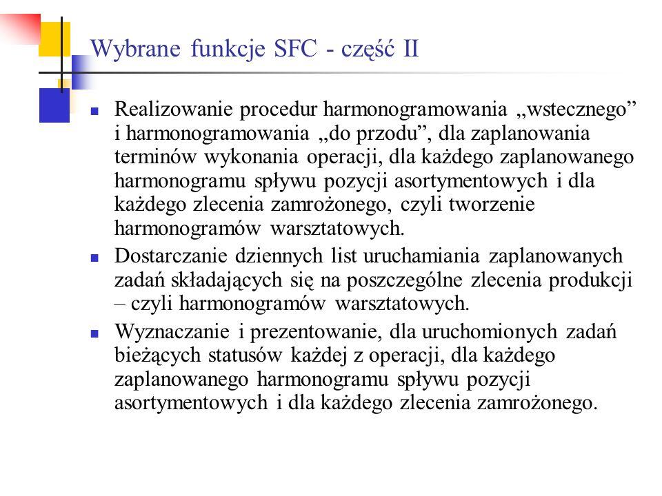 Wybrane funkcje SFC - część II Realizowanie procedur harmonogramowania wstecznego i harmonogramowania do przodu, dla zaplanowania terminów wykonania o