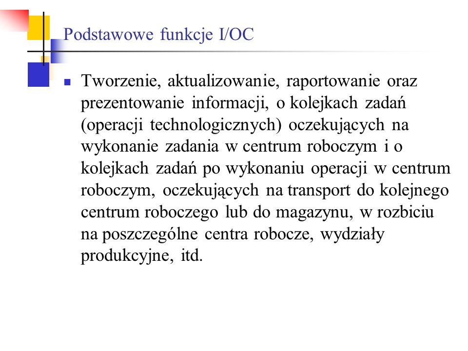 Podstawowe funkcje I/OC Tworzenie, aktualizowanie, raportowanie oraz prezentowanie informacji, o kolejkach zadań (operacji technologicznych) oczekując