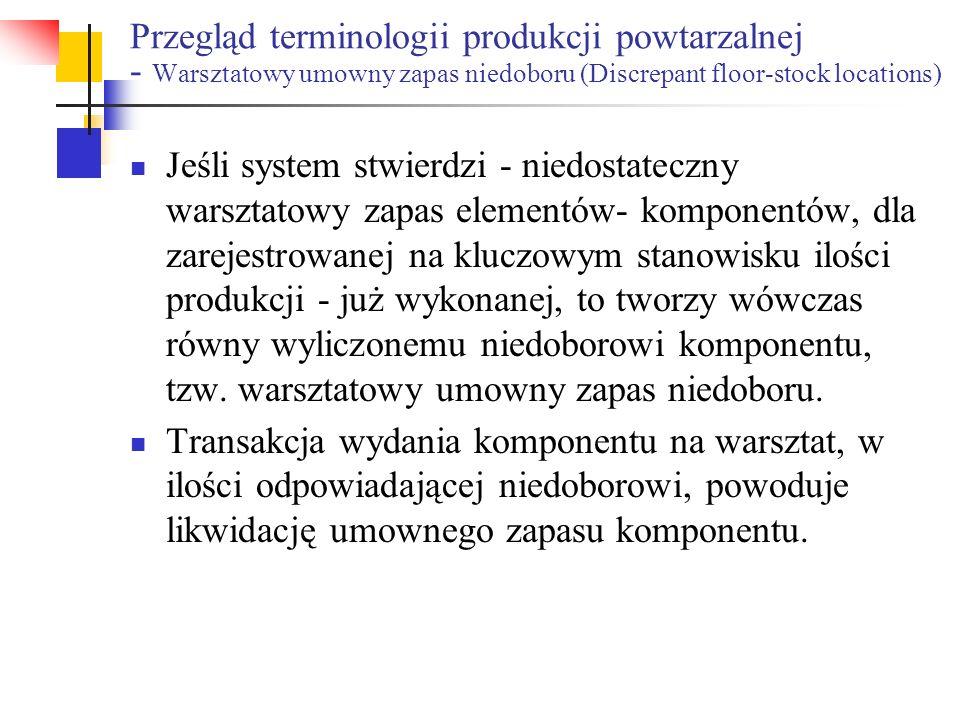 Przegląd terminologii produkcji powtarzalnej - Warsztatowy umowny zapas niedoboru (Discrepant floor-stock locations) Jeśli system stwierdzi - niedosta