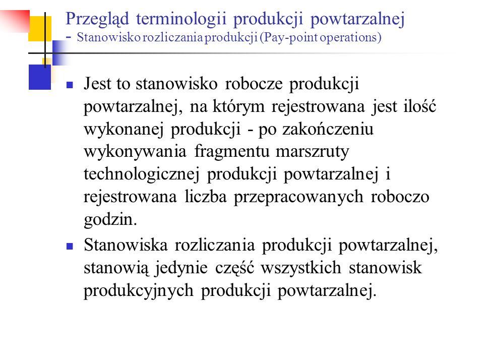 Przegląd terminologii produkcji powtarzalnej - Stanowisko rozliczania produkcji (Pay-point operations) Jest to stanowisko robocze produkcji powtarzaln