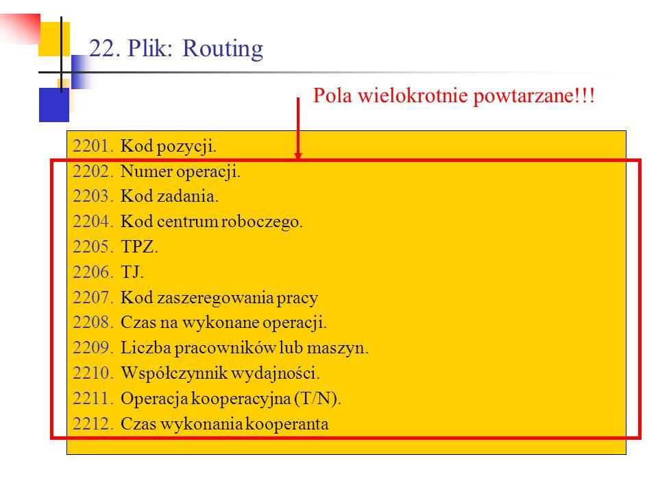 22. Plik: Routing 2201.Kod pozycji. 2202.Numer operacji. 2203.Kod zadania. 2204.Kod centrum roboczego. 2205.TPZ. 2206.TJ. 2207.Kod zaszeregowania prac