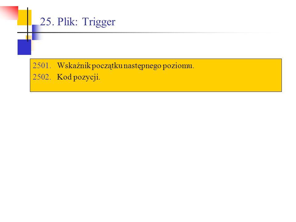 25. Plik: Trigger 2501.Wskaźnik początku następnego poziomu. 2502.Kod pozycji.