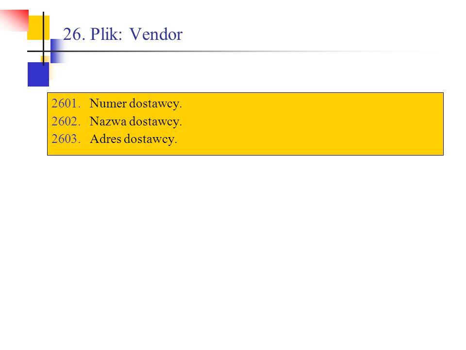 26. Plik: Vendor 2601.Numer dostawcy. 2602.Nazwa dostawcy. 2603.Adres dostawcy.