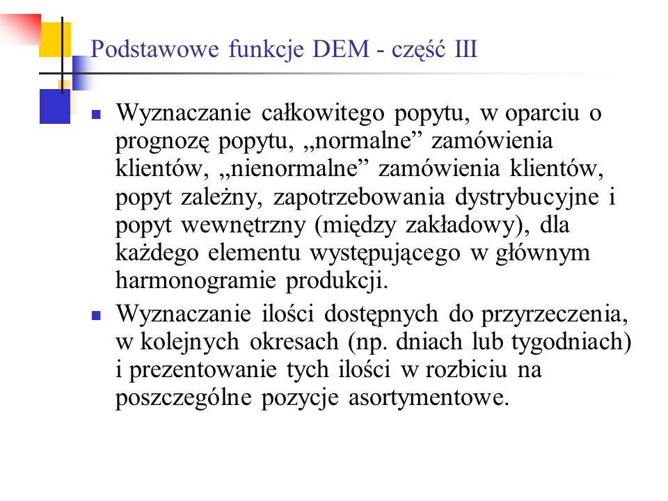 Podstawowe funkcje DEM - część III Wyznaczanie całkowitego popytu, w oparciu o prognozę popytu, normalne zamówienia klientów, nienormalne zamówienia k