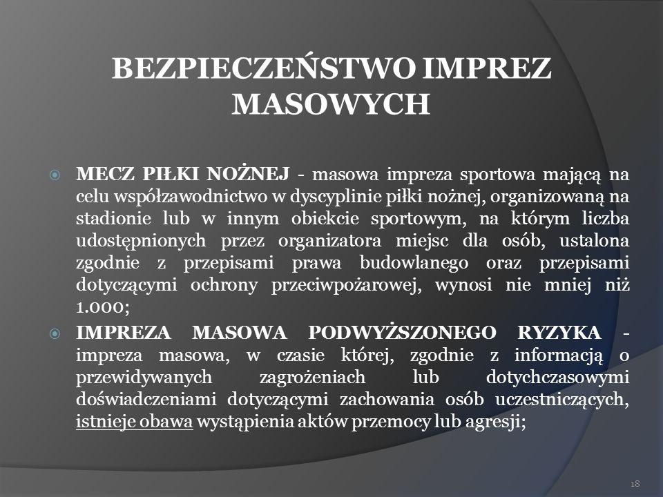 BEZPIECZEŃSTWO IMPREZ MASOWYCH MECZ PIŁKI NOŻNEJ - masowa impreza sportowa mającą na celu współzawodnictwo w dyscyplinie piłki nożnej, organizowaną na