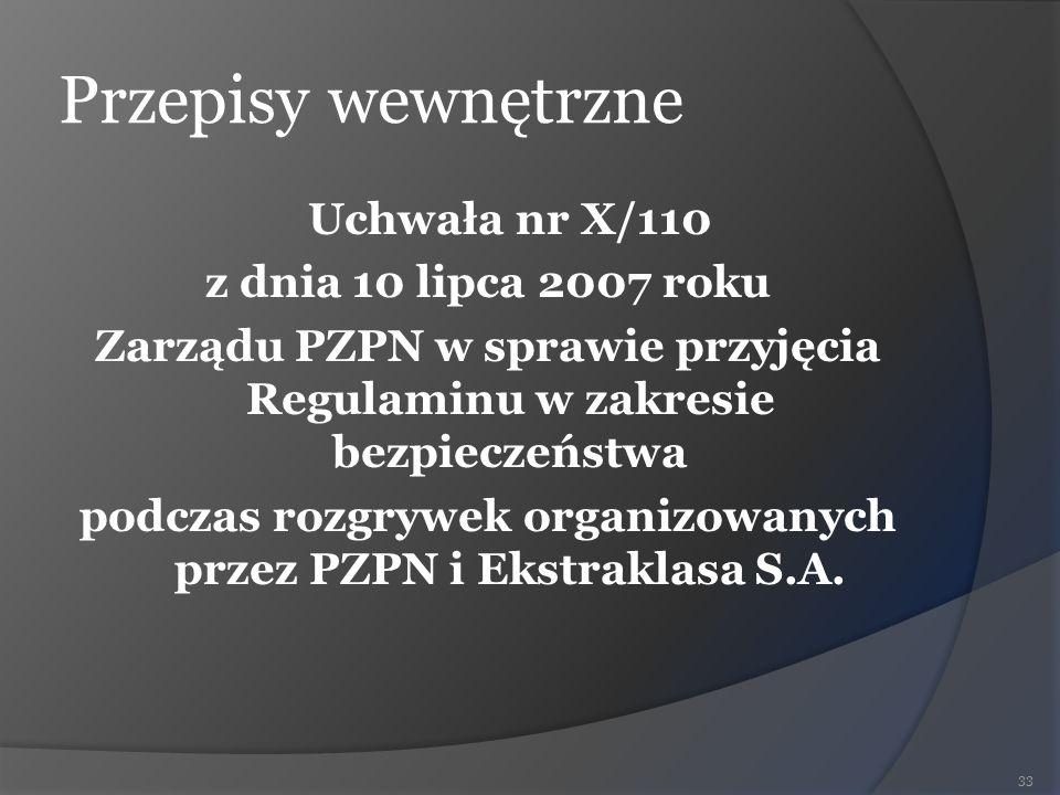 Przepisy wewnętrzne Uchwała nr X/110 z dnia 10 lipca 2007 roku Zarządu PZPN w sprawie przyjęcia Regulaminu w zakresie bezpieczeństwa podczas rozgrywek