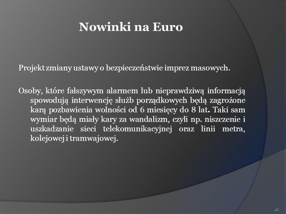 Nowinki na Euro Projekt zmiany ustawy o bezpieczeństwie imprez masowych. Osoby, które fałszywym alarmem lub nieprawdziwą informacją spowodują interwen