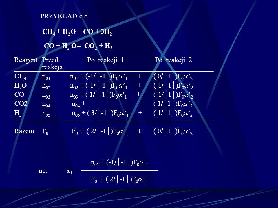 PRZYKŁAD c.d. CH 4 + H 2 O = CO + 3H 2 CO + H 2 O= CO 2 + H 2 ReagentPrzed Po reakcji 1 Po reakcji 2 reakcją CH 4 n 01 n 01 + (-1/ -1 )F 0 1 + ( 0 1 )