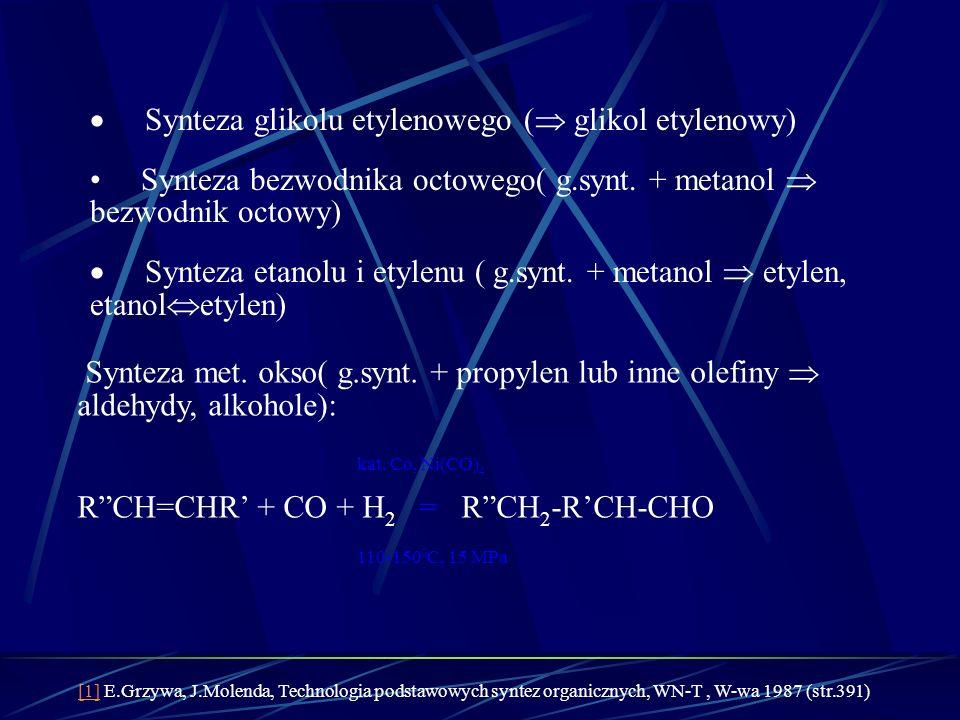 Synteza glikolu etylenowego ( glikol etylenowy) Synteza bezwodnika octowego( g.synt. + metanol bezwodnik octowy) Synteza etanolu i etylenu ( g.synt. +