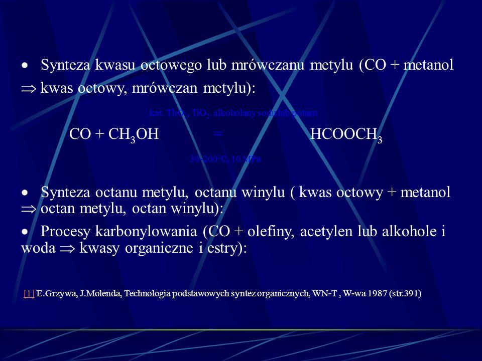 Synteza kwasu octowego lub mrówczanu metylu (CO + metanol kwas octowy, mrówczan metylu): kat. ThO 2, TiO 2, alkoholany sodu lub potasu CO + CH 3 OH=HC