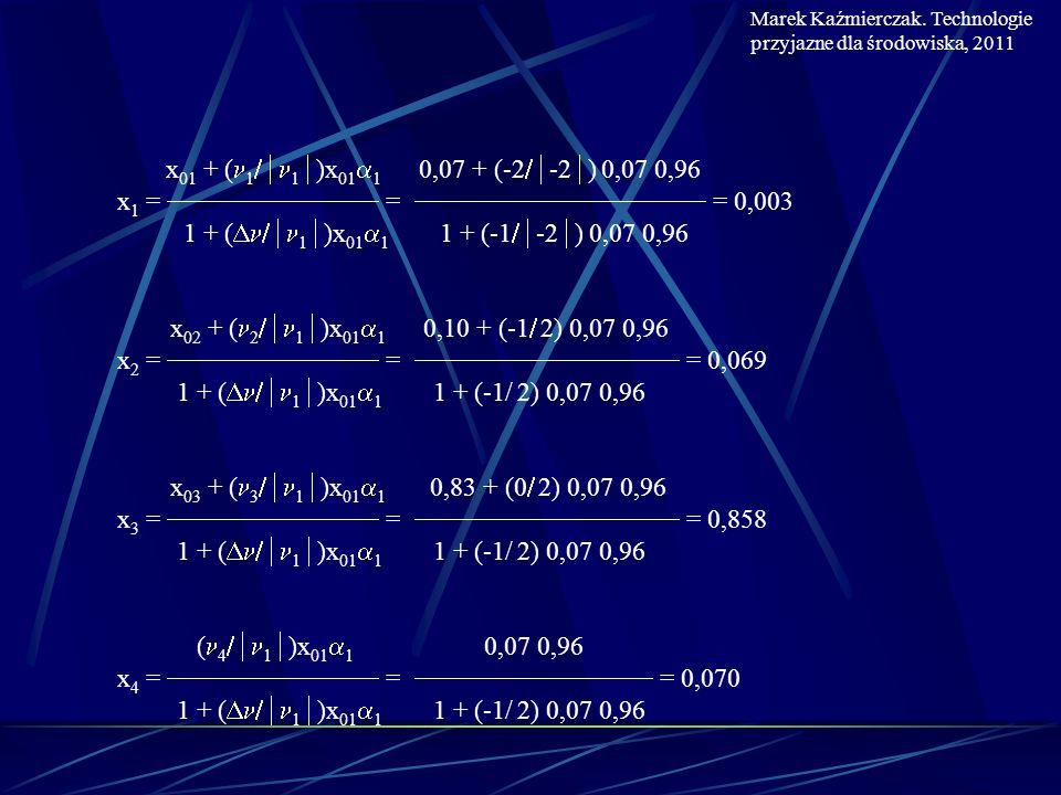 x 01 + ( 1 1 )x 01 1 0,07 + (-2 -2 ) 0,07 0,96 x 1 = = = 0,003 1 + ( 1 )x 01 1 1 + (-1 -2 ) 0,07 0,96 x 02 + ( 2 1 )x 01 1 0,10 + (-1 2) 0,07 0,96 x 2