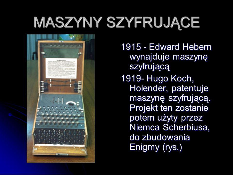 MASZYNY SZYFRUJĄCE 1915 - Edward Hebern wynajduje maszynę szyfrującą 1919- Hugo Koch, Holender, patentuje maszynę szyfrującą. Projekt ten zostanie pot