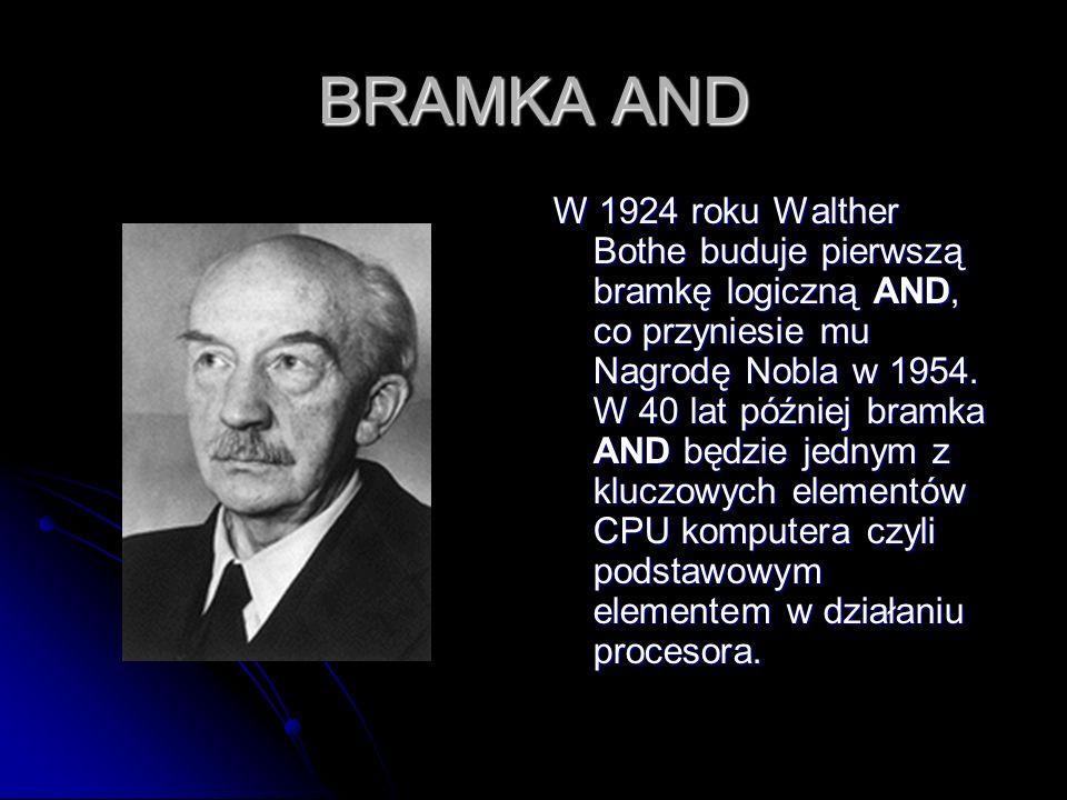 BRAMKA AND W 1924 roku Walther Bothe buduje pierwszą bramkę logiczną AND, co przyniesie mu Nagrodę Nobla w 1954. W 40 lat później bramka AND będzie je