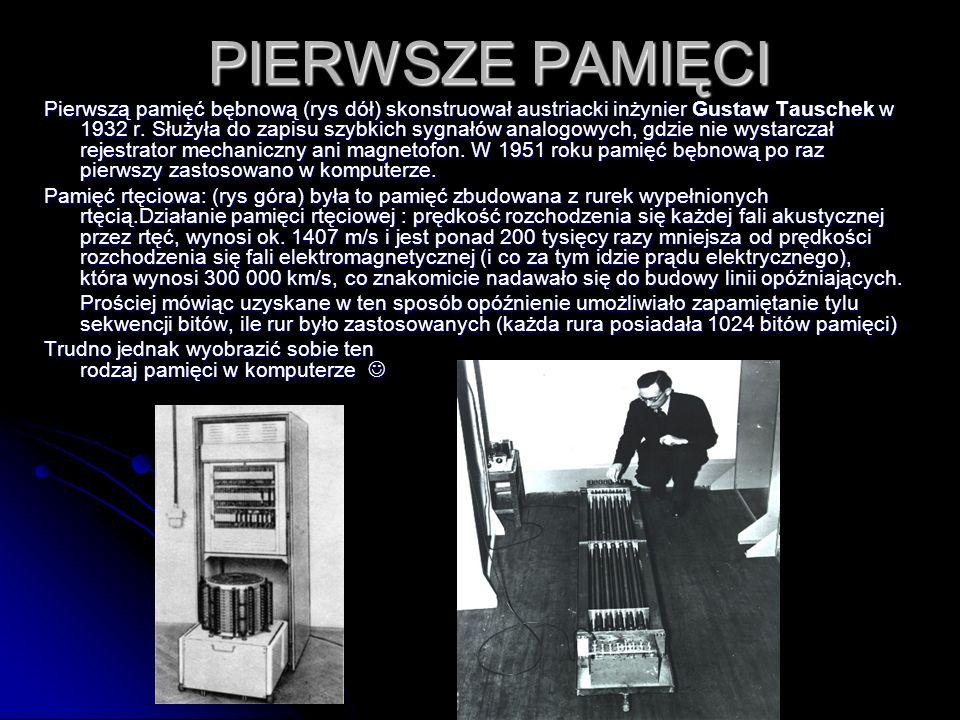 PIERWSZE PAMIĘCI Pierwszą pamięć bębnową (rys dół) skonstruował austriacki inżynier Gustaw Tauschek w 1932 r. Służyła do zapisu szybkich sygnałów anal
