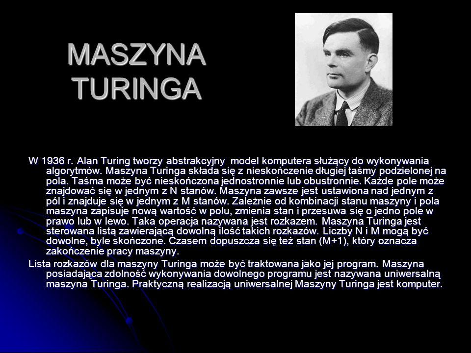 MASZYNA TURINGA W 1936 r. Alan Turing tworzy abstrakcyjny model komputera służący do wykonywania algorytmów. Maszyna Turinga składa się z nieskończeni