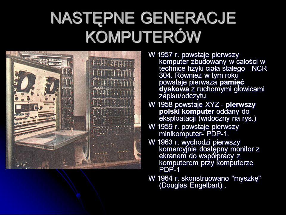 NASTĘPNE GENERACJE KOMPUTERÓW W 1957 r. powstaje pierwszy komputer zbudowany w całości w technice fizyki ciała stałego - NCR 304. Również w tym roku p