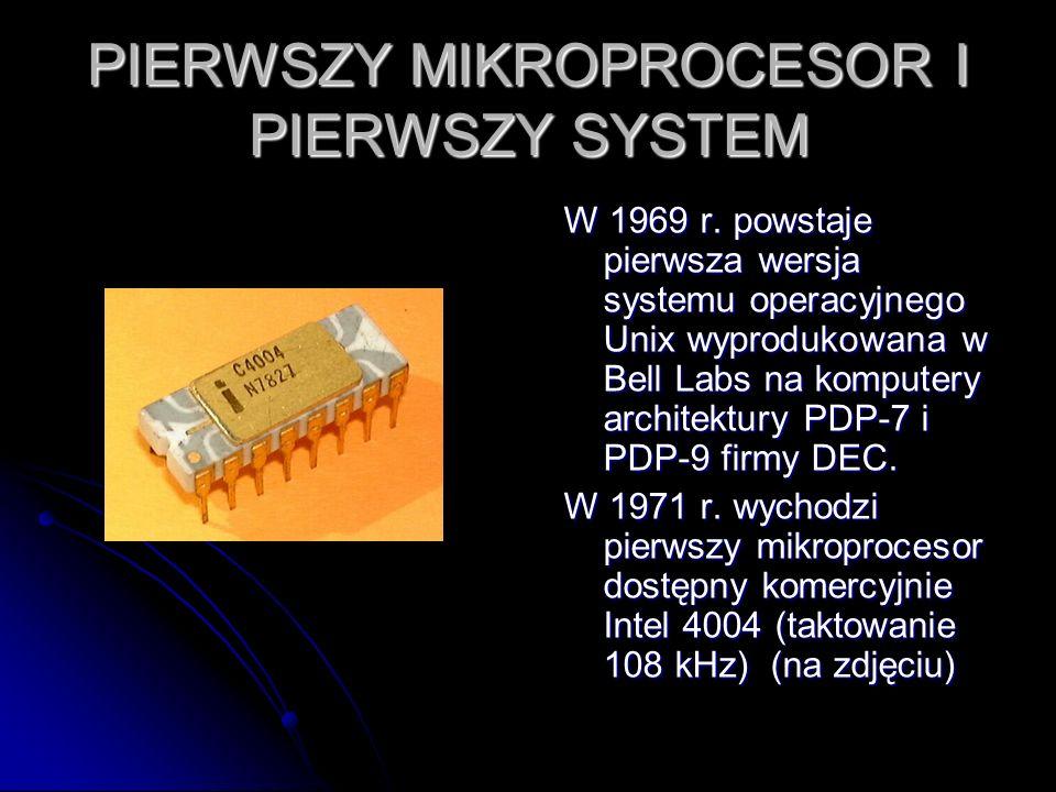 PIERWSZY MIKROPROCESOR I PIERWSZY SYSTEM W 1969 r. powstaje pierwsza wersja systemu operacyjnego Unix wyprodukowana w Bell Labs na komputery architekt