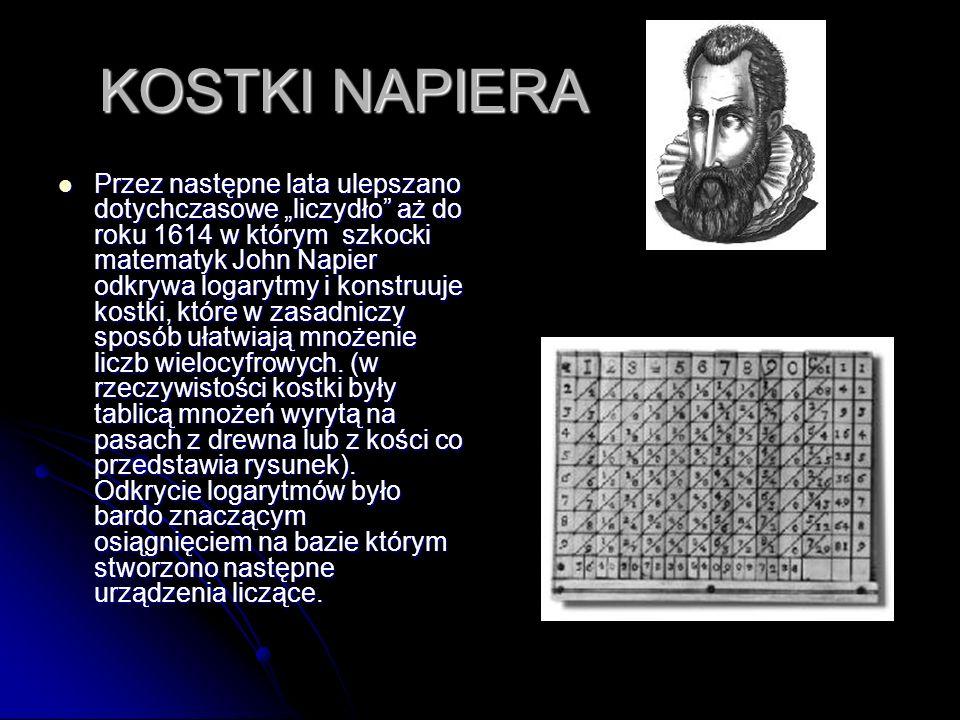 KOSTKI NAPIERA Przez następne lata ulepszano dotychczasowe liczydło aż do roku 1614 w którym szkocki matematyk John Napier odkrywa logarytmy i konstru