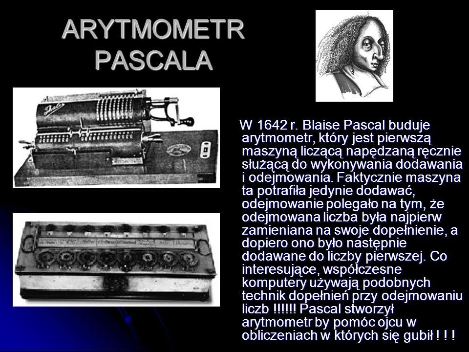 ARYTMOMETR PASCALA W 1642 r. Blaise Pascal buduje arytmometr, który jest pierwszą maszyną liczącą napędzaną ręcznie służącą do wykonywania dodawania i