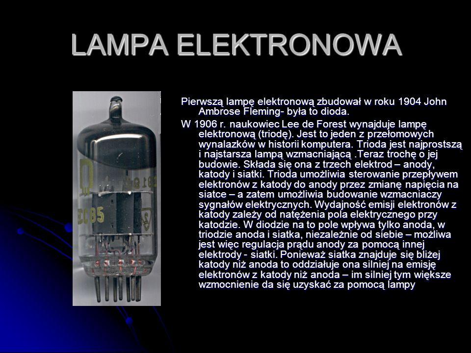 LAMPA ELEKTRONOWA Pierwszą lampę elektronową zbudował w roku 1904 John Ambrose Fleming- była to dioda. W 1906 r. naukowiec Lee de Forest wynajduje lam
