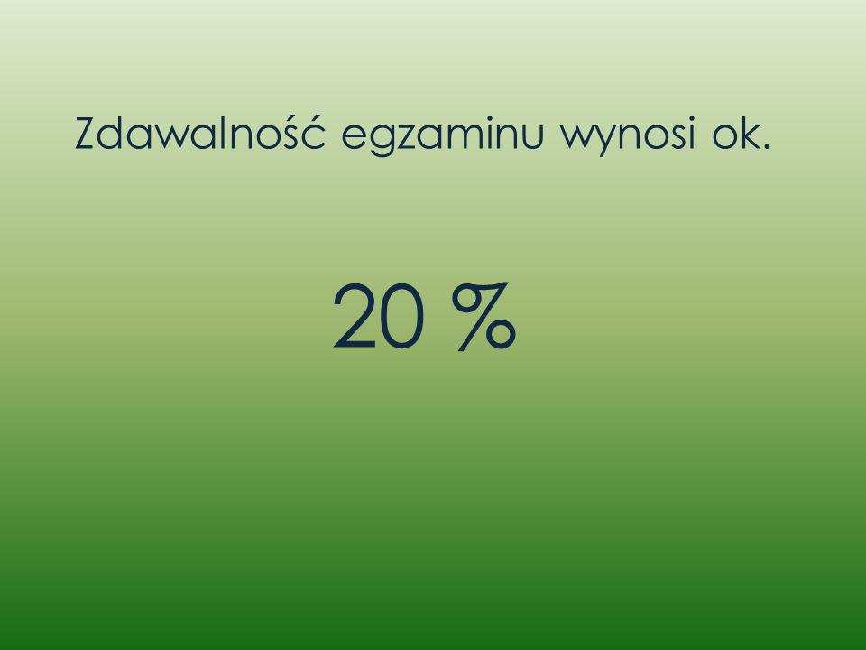Zdawalność egzaminu wynosi ok. 20 %