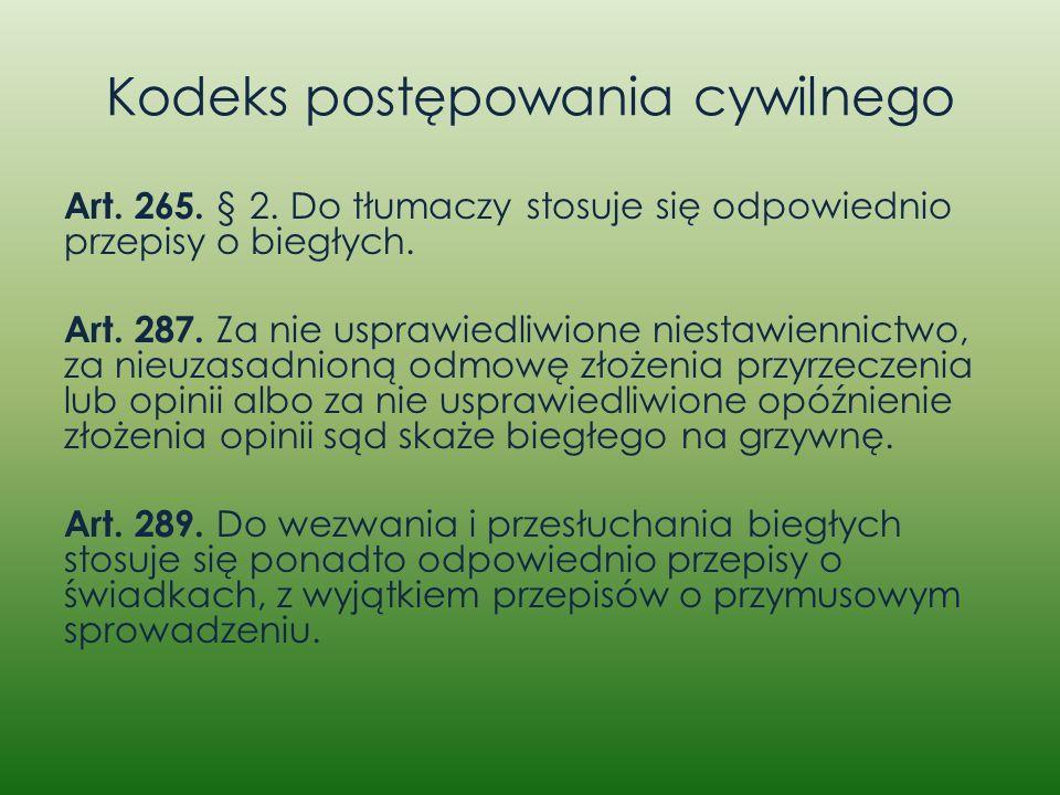 Kodeks postępowania cywilnego Art. 265. § 2. Do tłumaczy stosuje się odpowiednio przepisy o biegłych. Art. 287. Za nie usprawiedliwione niestawiennict