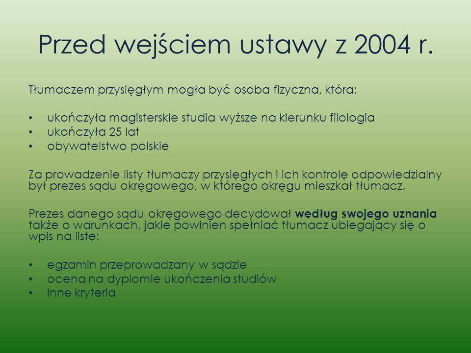 Przed wejściem ustawy z 2004 r. Tłumaczem przysięgłym mogła być osoba fizyczna, która: ukończyła magisterskie studia wyższe na kierunku filologia ukoń