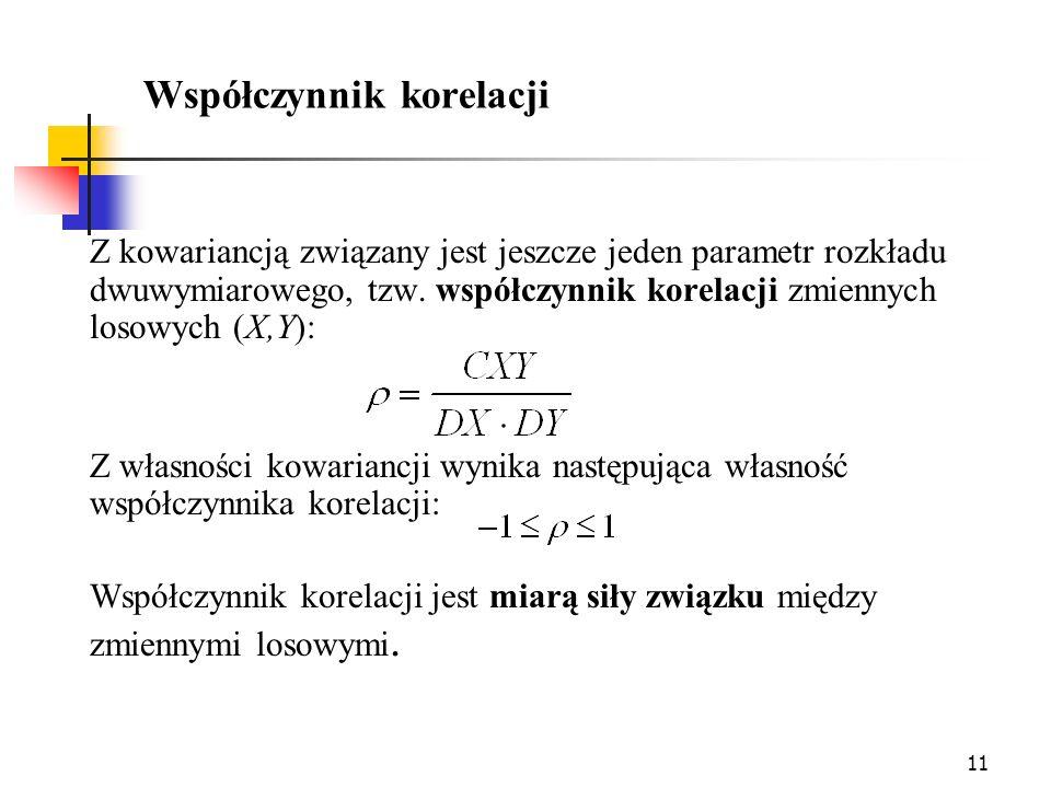 11 Współczynnik korelacji Z kowariancją związany jest jeszcze jeden parametr rozkładu dwuwymiarowego, tzw. współczynnik korelacji zmiennych losowych (