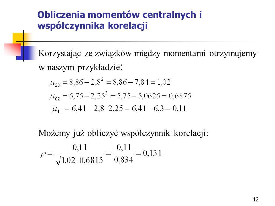 12 Obliczenia momentów centralnych i współczynnika korelacji Korzystając ze związków między momentami otrzymujemy w naszym przykładzie : Możemy już ob