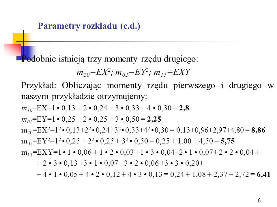 6 Parametry rozkładu (c.d.) Podobnie istnieją trzy momenty rzędu drugiego: m 20 =EX 2 ; m 02 =EY 2 ; m 11 =EXY Przykład: Obliczając momenty rzędu pier