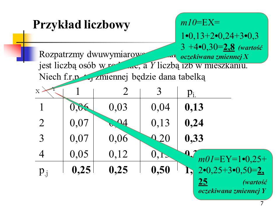 8 Parametry rozkładu (c.d.) Momentem centralnym rzędu k+l (k, l = 0, 1,...) dwuwy- miarowego rozkładu zmiennej losowej (X,Y) typu skokowego nazywamy wyrażenie: