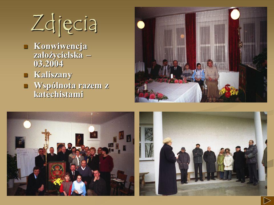 Zdjęcia Konwiwencja założycielska – 03.2004 Konwiwencja założycielska – 03.2004 Kaliszany Kaliszany Wspólnota razem z katechistami Wspólnota razem z k