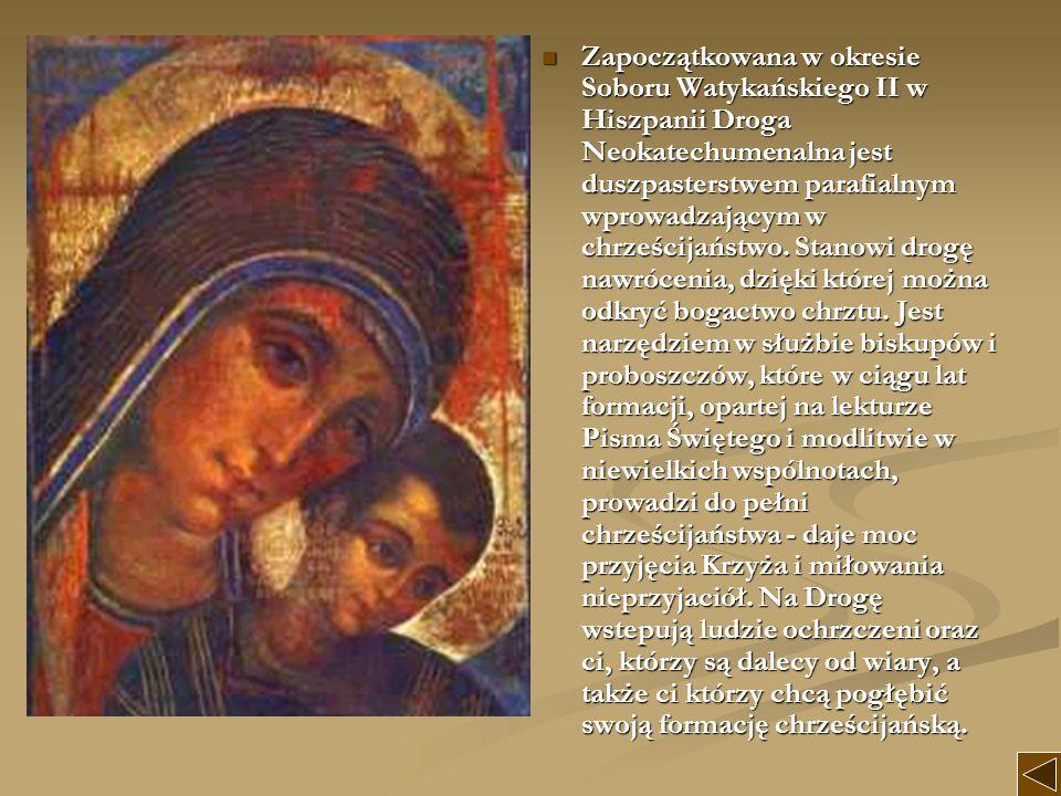 Zapoczątkowana w okresie Soboru Watykańskiego II w Hiszpanii Droga Neokatechumenalna jest duszpasterstwem parafialnym wprowadzającym w chrześcijaństwo
